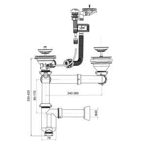 Dřezový sifon automat s dvojitou přípojkou pro pračku a myčku 19041
